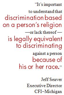 """Religious discrimination..."" quote"