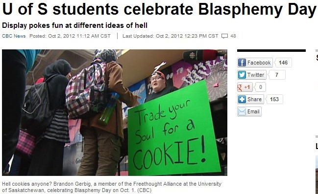 U of S students celebrate Blasphemy Day headline